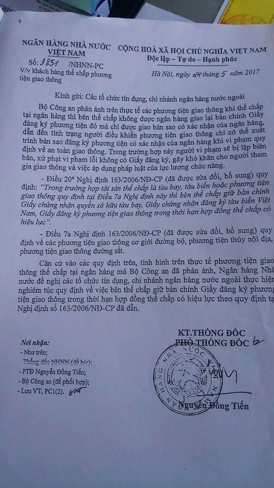 Văn bản số 3851/NHNN-PC về việc thế chấp phương tiện giao thông của Ngân hàng Nhà nước Việt Nam